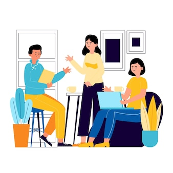 Hand gezeichneter coworking space