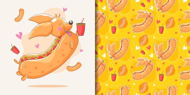 Hand gezeichneter dackelhund mit hotdog-gewohnheit