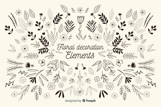 Hand gezeichneter dekorativer elementmit blumensatz