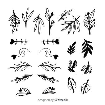 Hand gezeichneter dekorativer hochzeitsverzierungssatz