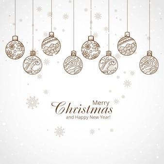 Hand gezeichneter dekorativer weihnachtskugelhintergrund