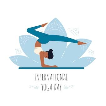 Hand gezeichneter design internationaler tag des yoga