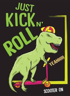 Hand gezeichneter dinosaurier mit roller für t-shirt
