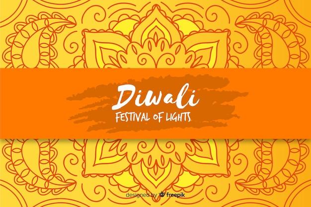 Hand gezeichneter diwali hintergrund auf gelben schatten