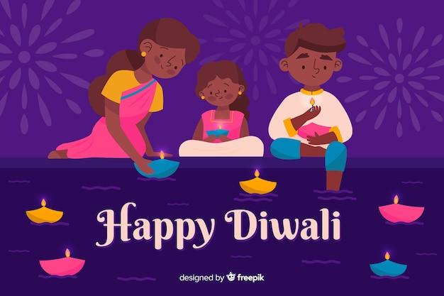 Hand gezeichneter diwali hintergrund mit familie