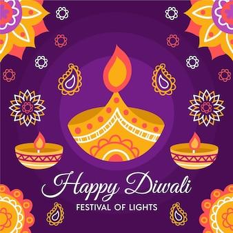 Hand gezeichneter diwali-hintergrund mit kerzen