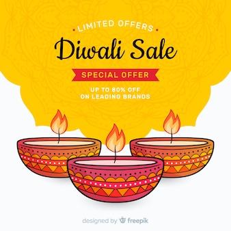 Hand gezeichneter diwali verkauf und kerzen