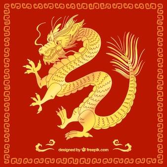 Hand gezeichneter drache des traditionellen chinesen