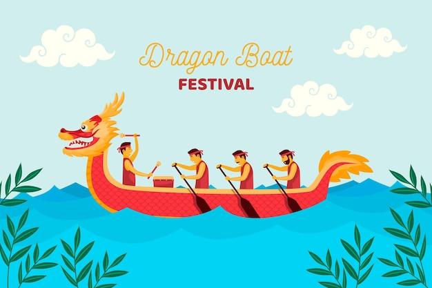 Hand gezeichneter drachenboothintergrund