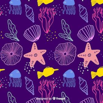 Hand gezeichneter dunkler korallenroter hintergrund