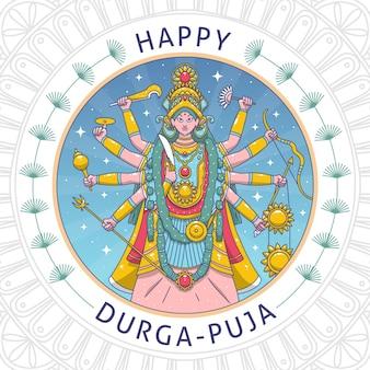 Hand gezeichneter durga-puja-hintergrund