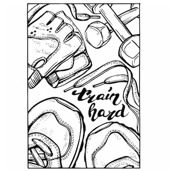 Hand gezeichneter eignungsgekritzelsatz