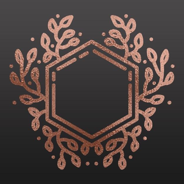 Hand gezeichneter eleganter hexagon-rahmen