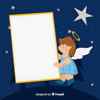 Hand gezeichneter engel, der unbelegtes zeichen anhält