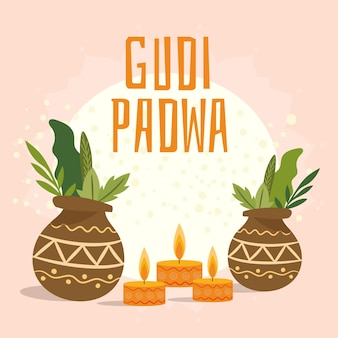 Hand gezeichneter entwurf für gudi padwa festival