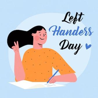 Hand gezeichneter entwurf linkshänder tag