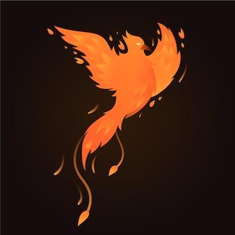 Hand gezeichneter entwurf phoenix vogel
