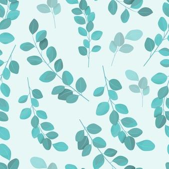 Hand gezeichneter eukalyptus hinterlässt nahtloses muster