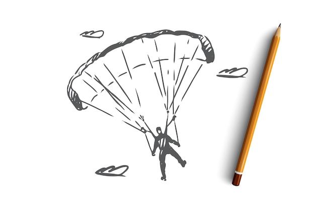 Hand gezeichneter fallschirmspringer auf einer sportfallschirmkonzeptskizze