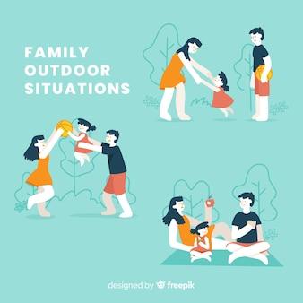 Hand gezeichneter familienaktivitätssatz der familie