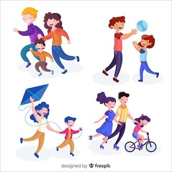 Hand gezeichneter familiensituationssatz der familie