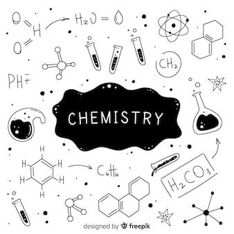 Hand gezeichneter farbloser chemiehintergrund