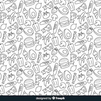 Hand gezeichneter farbloser obst- und gemüsehintergrund