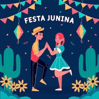 Hand gezeichneter festa junina hintergrund mit mann und frau