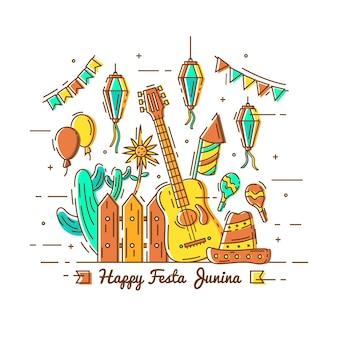 Hand gezeichneter festa junina hintergrund