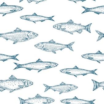 Hand gezeichneter fisch nahtloses hintergrundmuster.