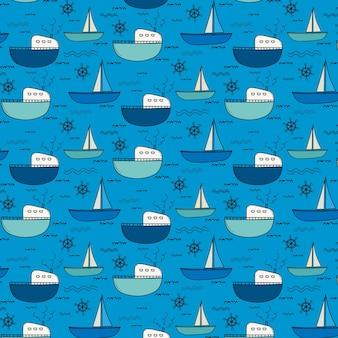Hand gezeichneter fischerboot-muster-hintergrund.