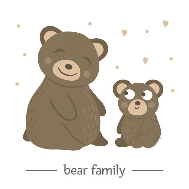 Hand gezeichneter flacher babybär mit elternteil.