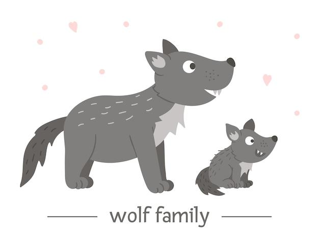 Hand gezeichneter flacher babywolf mit elternteil.