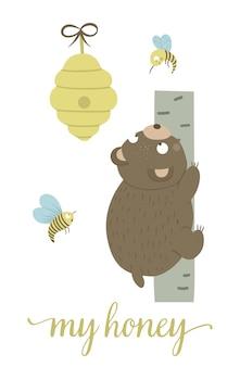 Hand gezeichneter flacher bär der vektorkarikaturart, der den baum für bienenstock klettert, der durch bienen umgeben wird. lustige szene mit teddy, der honig bekommen will. nette illustration des waldtiers