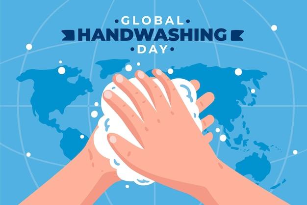 Hand gezeichneter flacher globaler handwaschtaghintergrund