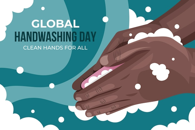 Hand gezeichneter flacher globaler hintergrund des händewaschens