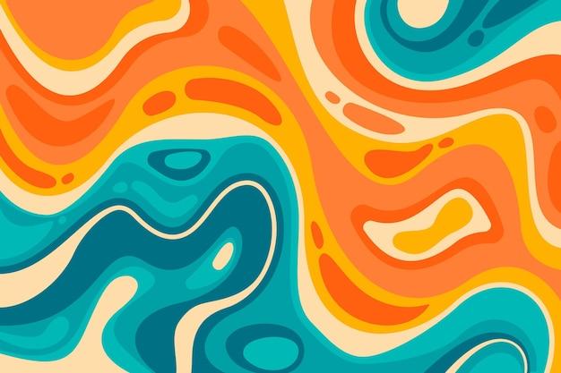 Hand gezeichneter flacher grooviger psychedelischer hintergrund