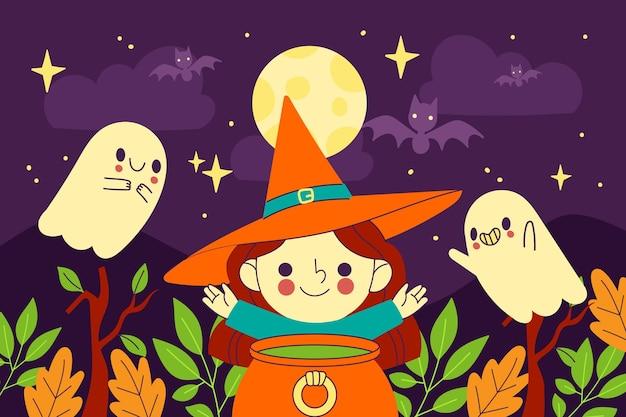 Hand gezeichneter flacher halloween-hintergrund