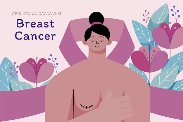 Hand gezeichneter flacher internationaler tag gegen brustkrebshintergrund