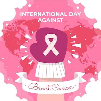 Hand gezeichneter flacher internationaler tag gegen brustkrebsillustration