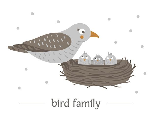Hand gezeichneter flacher vogel, der auf dem nest mit eiern sitzt.