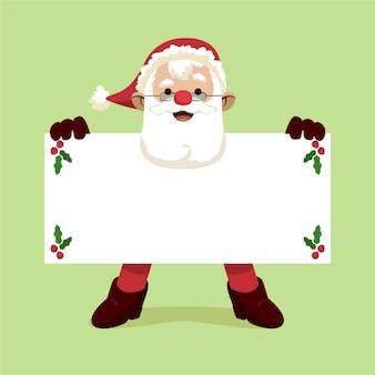 Hand gezeichneter flacher weihnachtscharakter, der leere fahne hält