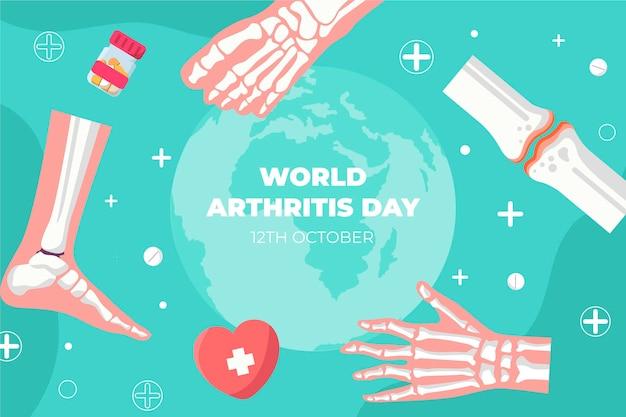 Hand gezeichneter flacher weltarthritis-tageshintergrund