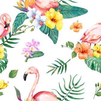 Hand gezeichneter flamingovogel mit tropischen blumen