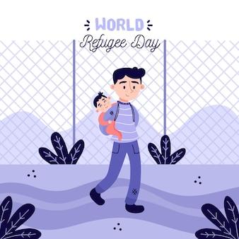 Hand gezeichneter flüchtlingstag von vater und sohn