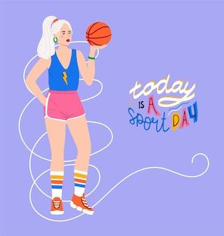 Hand gezeichneter frauenaufenthalt mit basketballball mit text auf violettem hintergrund. heute ist sporttag