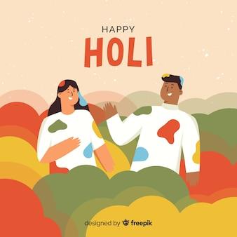 Hand gezeichneter freunde holi festivalhintergrund