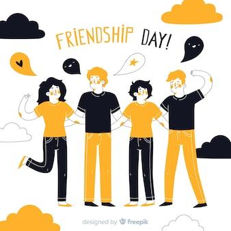 Hand gezeichneter freundschaftstageshintergrund