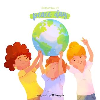 Hand gezeichneter friedenstag mit kindern