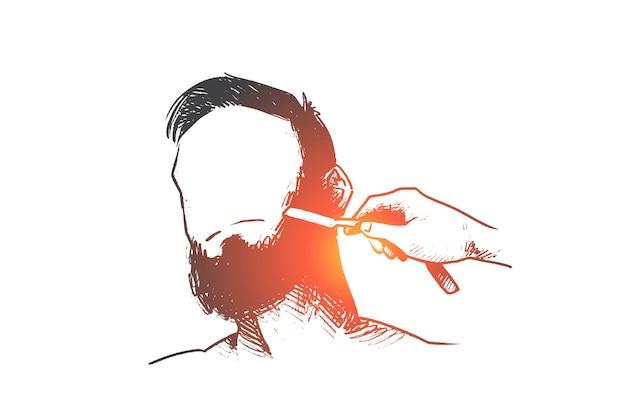 Hand gezeichneter friseur, der bart in salonkonzeptskizze rasiert